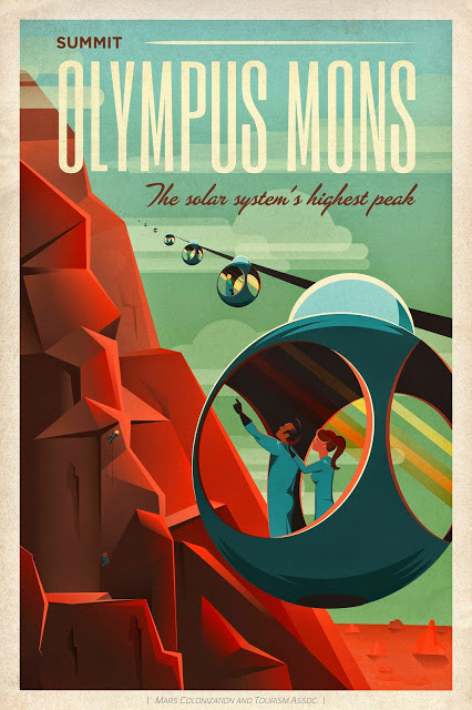 Poster Mars Olympus Mons en vente sur le site se SpaceX https://shop.spacex.com/accessories-131.html